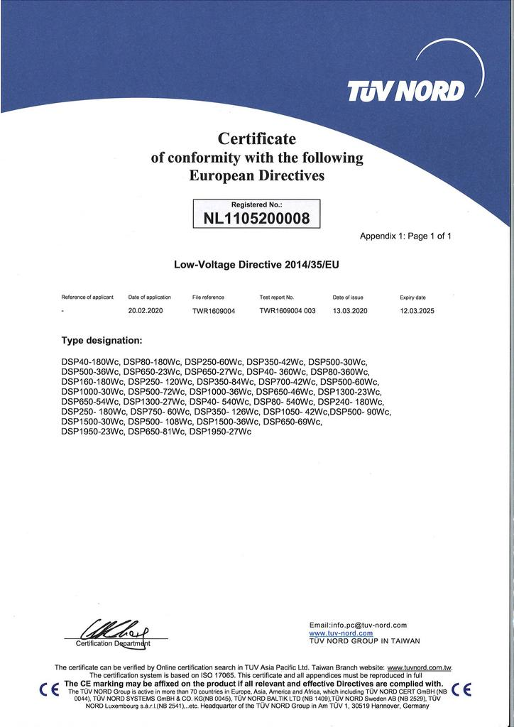 IDRC,DSP-WR / DSP-WE / DSP-WS / DSP-WA / DSP-WAe / DSP-WAs series dc power  supply CE certificate